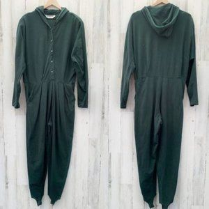 Vintage 80s Faded Green Hoodie Jumpsuit w/Stirrups